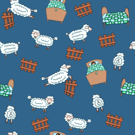 Seamless pattern with sheep flock and beds