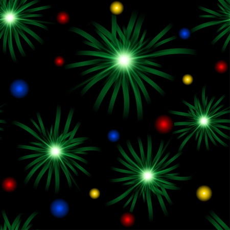 Abstract christmas background with lights and boughs. Eps10. Clipping mask