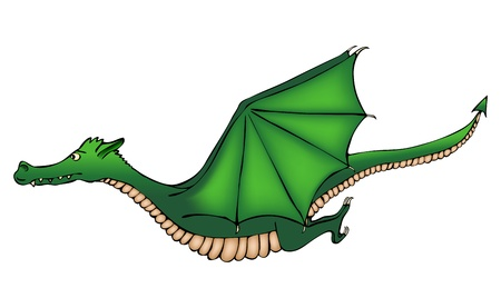 Isolated cartoon green dragon in the air