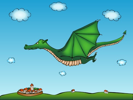 Cartoon green dragon with village background Vector