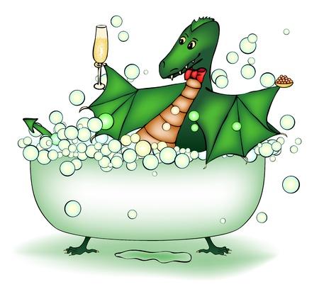 caviar: Dragon vert d�tendre dans le bain au champagne et au caviar