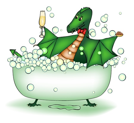 Green dragon relax in bath with champagne and caviar