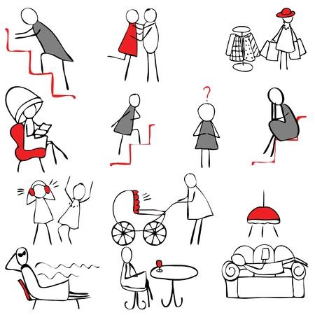 doodle art clipart: Set of female symbols in doodle style Illustration