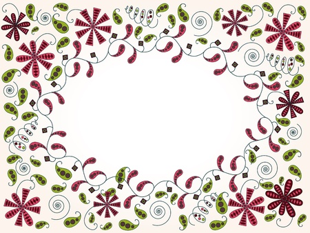 bordo: Horizontal greeting card with abstract vintage floral elements Illustration