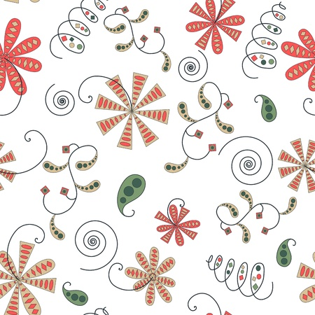 Seamless vintage abstract floral pattern Illustration