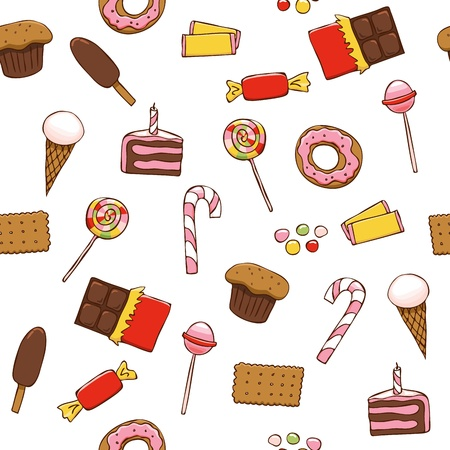 Seamless pattern with bright sweets on white background Illustration
