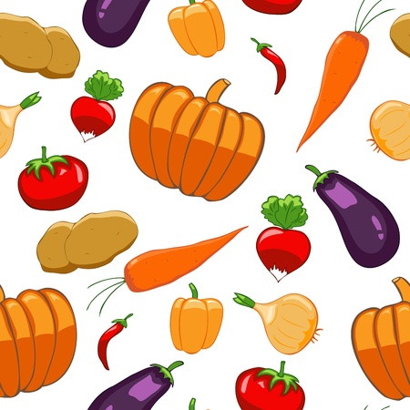 Seamless pattern with bright vegetables on white background Illustration