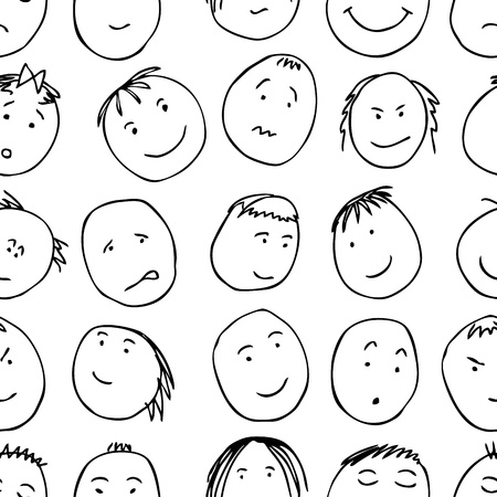 Seamless pattern with graphic cartoon faces in doodle style