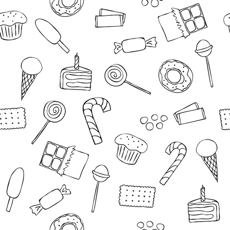 Seamless pattern with graphic sweets in doodle style Vector