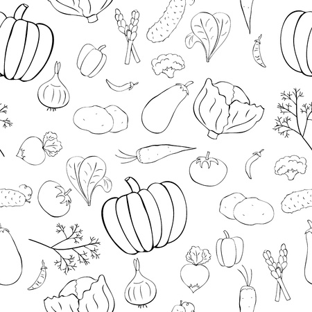 Seamless pattern with vegetables in doodle style