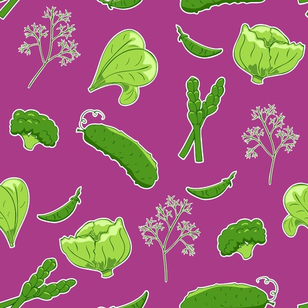 Seamless pattern with green vegetables on purple background Vector