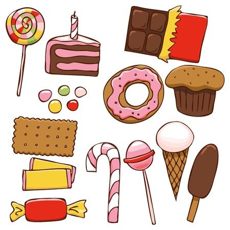 galleta de chocolate: Juego de dulces brillantes en estilo dibujo Vectores