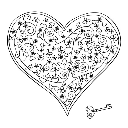 Black and white heart-shaped lock and key