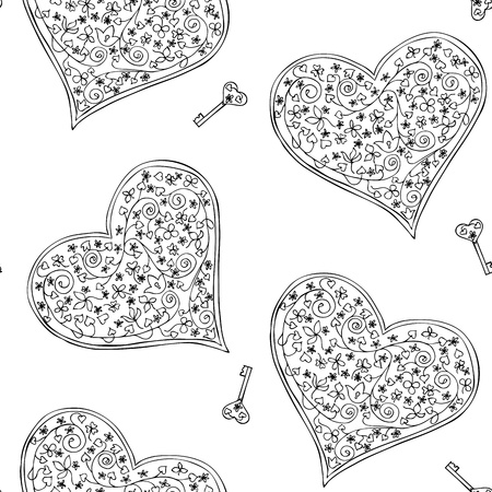 Seamless pattern with black and white heart-shaped locks and keys Illustration