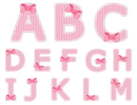 kids abc: Chica aislada beb� alfabeto conjunto de la A a la M Vectores