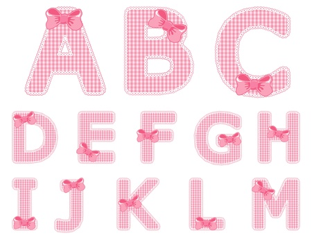 Isolated baby girl alphabet set from A to M Illustration