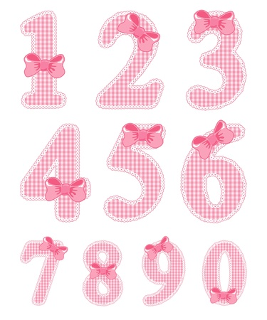 Isolated baby girl numeral set