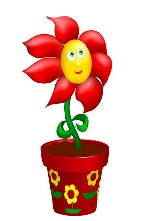 Happy flower in decorated pot. Gradient mesh Stock Vector - 12186352