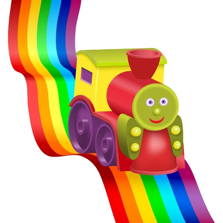 Rainbow and funny locomotive. Gradient mesh