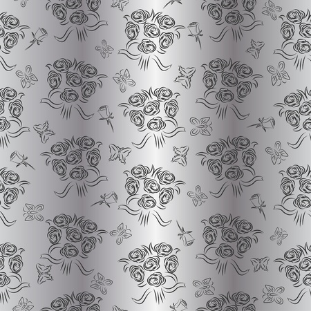 Seamless silver wedding pattern with roses and butterflies