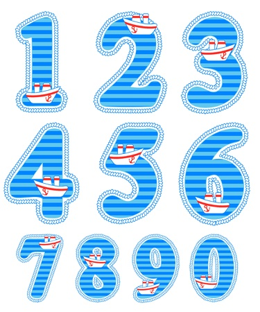 Isolated baby boy numeral set Vector