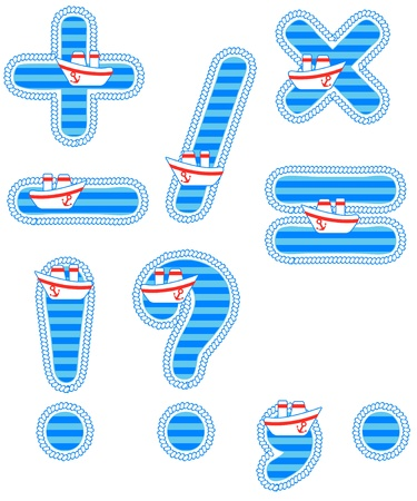 Baby boy set of isolated signs Vector