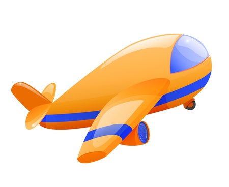 Isolated toy airplane takeoff. Eps10 Vector