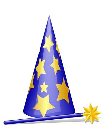 Sombrero mágico y una varita con la sombra. Eps 10