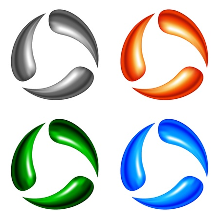 Four logo elements � metal, fire, nature and water  Gradient mesh Vector