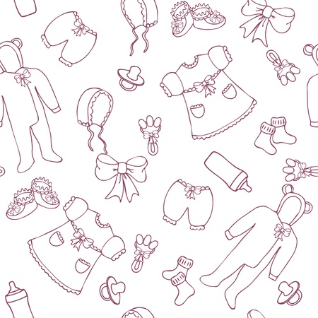 girl in dress: Baby girl seamless pattern in simple style Illustration