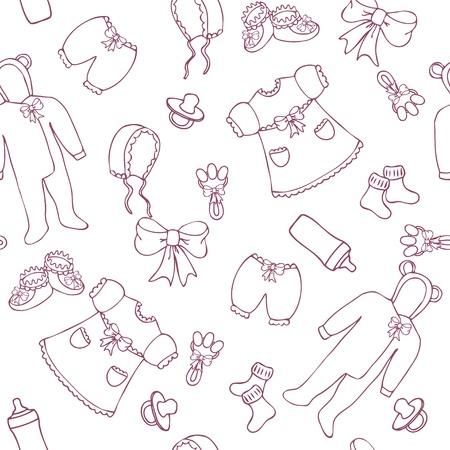 rammelaar: Baby meisje naadloze patroon in een eenvoudige stijl