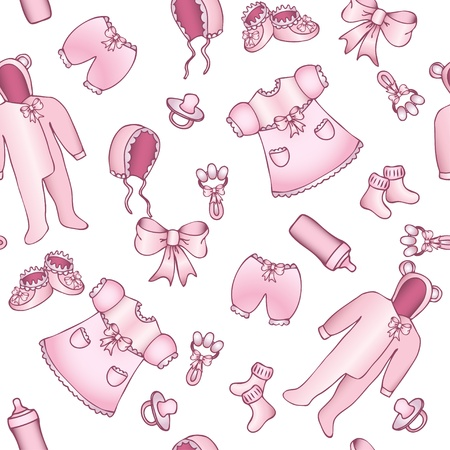 Rose and white baby girl seamless pattern  Clipping mask