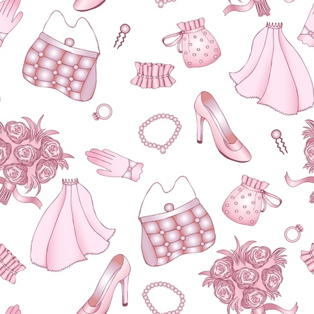 Rose and white wedding seamless pattern  Clipping mask  Vector