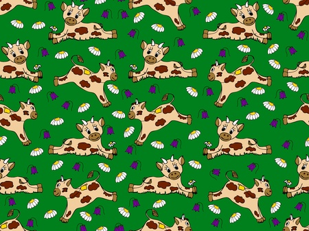 Cartoon seamless pattern with calves on the meadow Vector