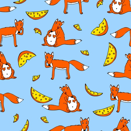 Funny seamless pattern with foxes and cheese Vector