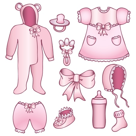 Set of rose baby girl accessories isolated on white Vector