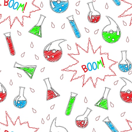 Seamless chemical pattern in doodle style