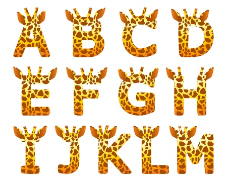 Isolated giraffe alphabet set from A to M Vector