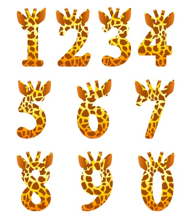 number of animals: Isolated giraffe numeral set Illustration
