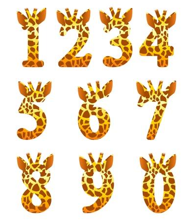 Isolated giraffe numeral set Illustration