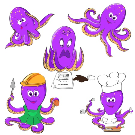Five violet octopuses in different mood and situations Stock Vector - 13925219