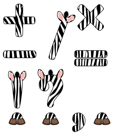 zebra set of isolated signs Vector