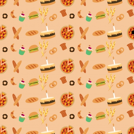 Colored bakery seamless pattern in simple style