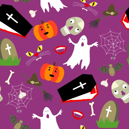 Colored halloween seamless pattern in simple style Vector