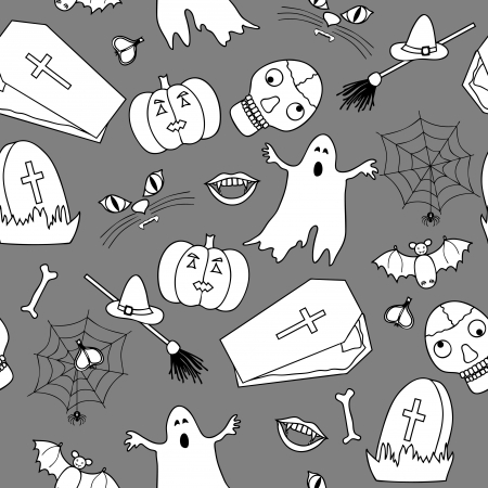 Monochromatic halloween seamless pattern in simple style Vector