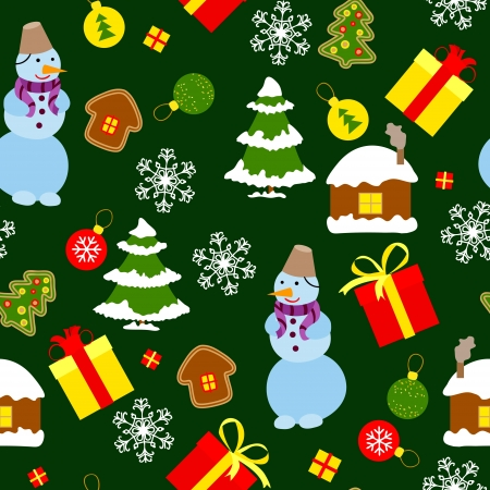 Colored Christmas seamless pattern in simple style