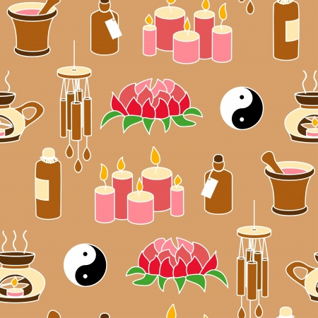 Colored Feng Shui seamless pattern in simple style Vector