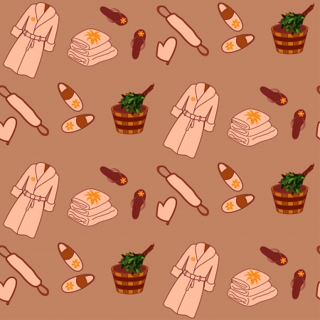 bast: Colored spa seamless pattern in simple style