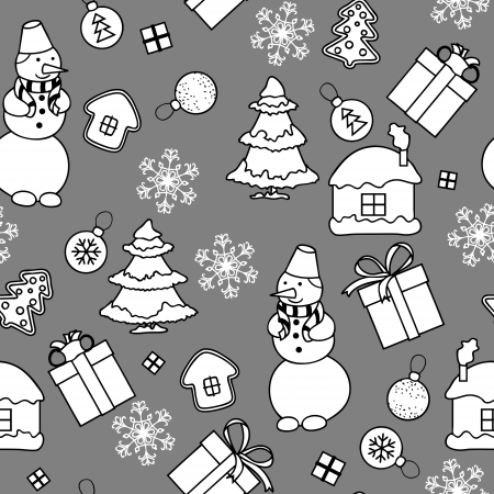 Monochromatic Christmas seamless pattern in simple style Illustration