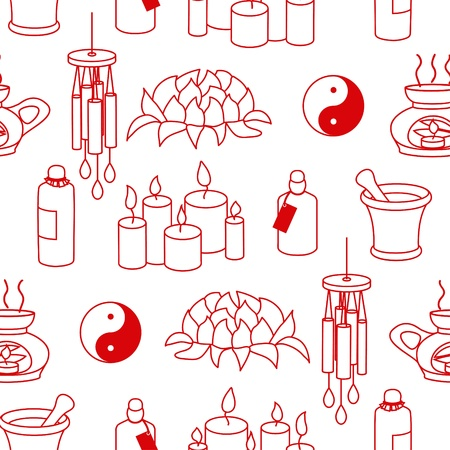 warmer: Monochromatic Feng Shui seamless pattern in simple style